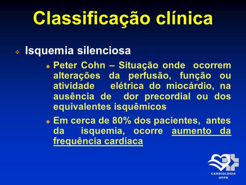 Classificação clínica Isquemia silenciosa Peter Cohn – Situação onde ocorrem alterações da perfusão, função ou atividade elétrica do miocárdio, na aus