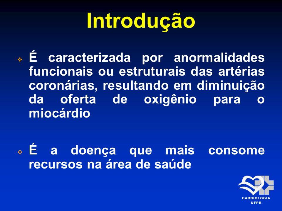 Introdução É caracterizada por anormalidades funcionais ou estruturais das artérias coronárias, resultando em diminuição da oferta de oxigênio para o