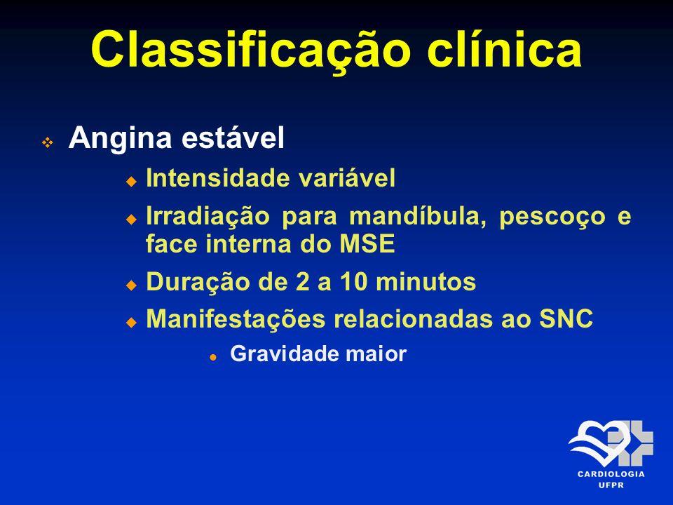 Classificação clínica Angina estável Intensidade variável Irradiação para mandíbula, pescoço e face interna do MSE Duração de 2 a 10 minutos Manifesta