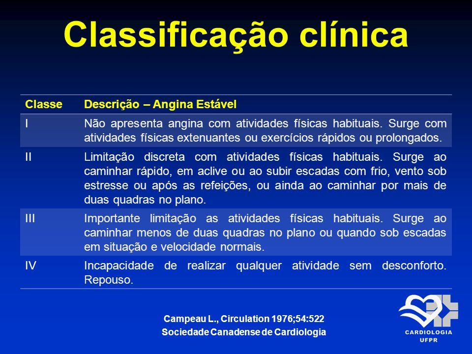 Classificação clínica ClasseDescrição – Angina Estável INão apresenta angina com atividades físicas habituais. Surge com atividades físicas extenuante