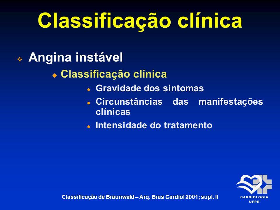 Classificação clínica Angina instável Classificação clínica Gravidade dos sintomas Circunstâncias das manifestações clínicas Intensidade do tratamento