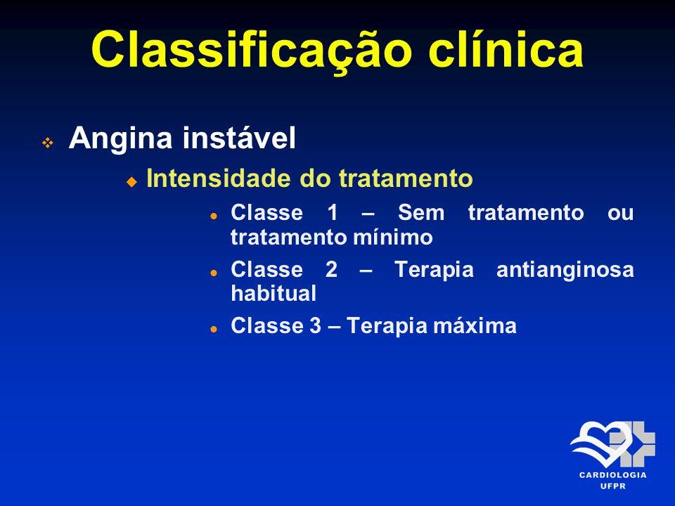 Classificação clínica Angina instável Intensidade do tratamento Classe 1 – Sem tratamento ou tratamento mínimo Classe 2 – Terapia antianginosa habitua