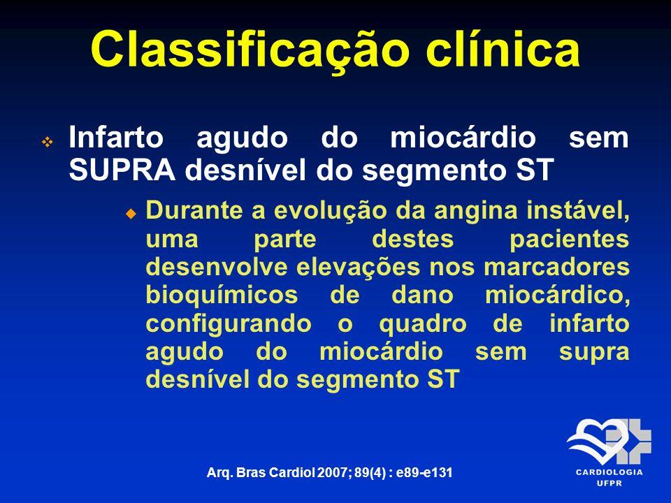 Classificação clínica Infarto agudo do miocárdio sem SUPRA desnível do segmento ST Durante a evolução da angina instável, uma parte destes pacientes d
