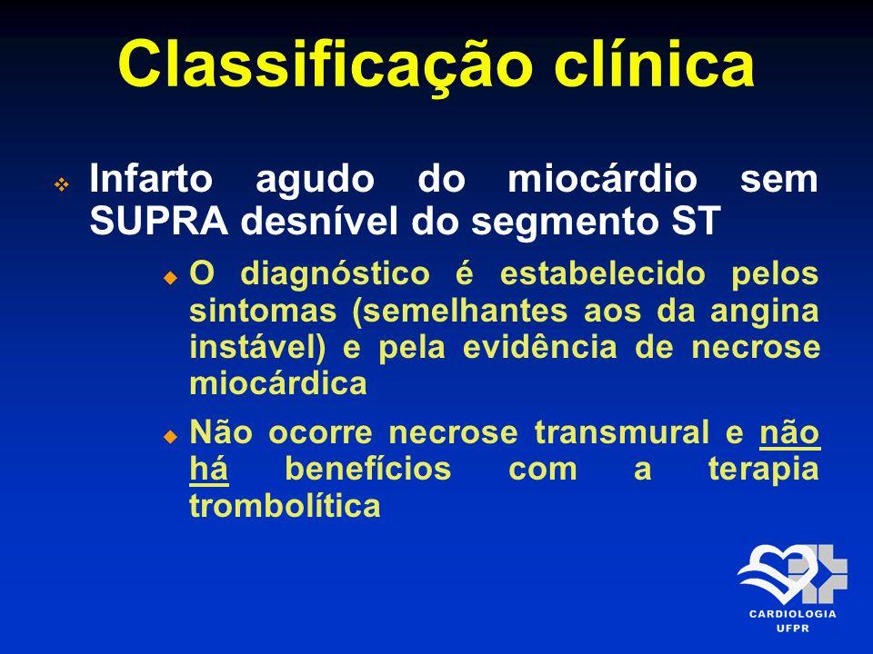 Classificação clínica Infarto agudo do miocárdio sem SUPRA desnível do segmento ST O diagnóstico é estabelecido pelos sintomas (semelhantes aos da ang