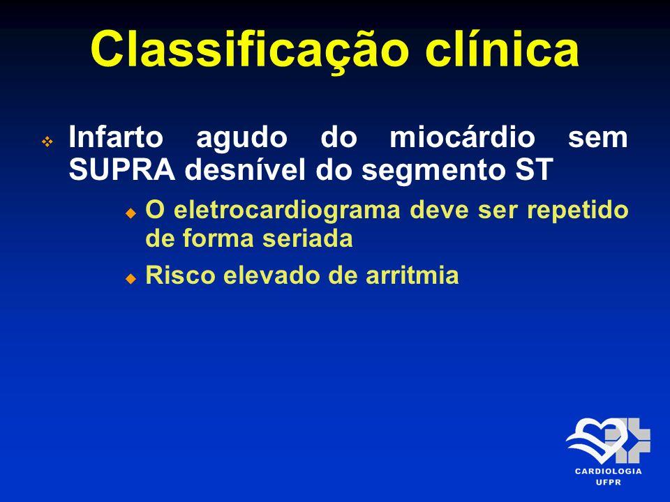 Classificação clínica Infarto agudo do miocárdio sem SUPRA desnível do segmento ST O eletrocardiograma deve ser repetido de forma seriada Risco elevad