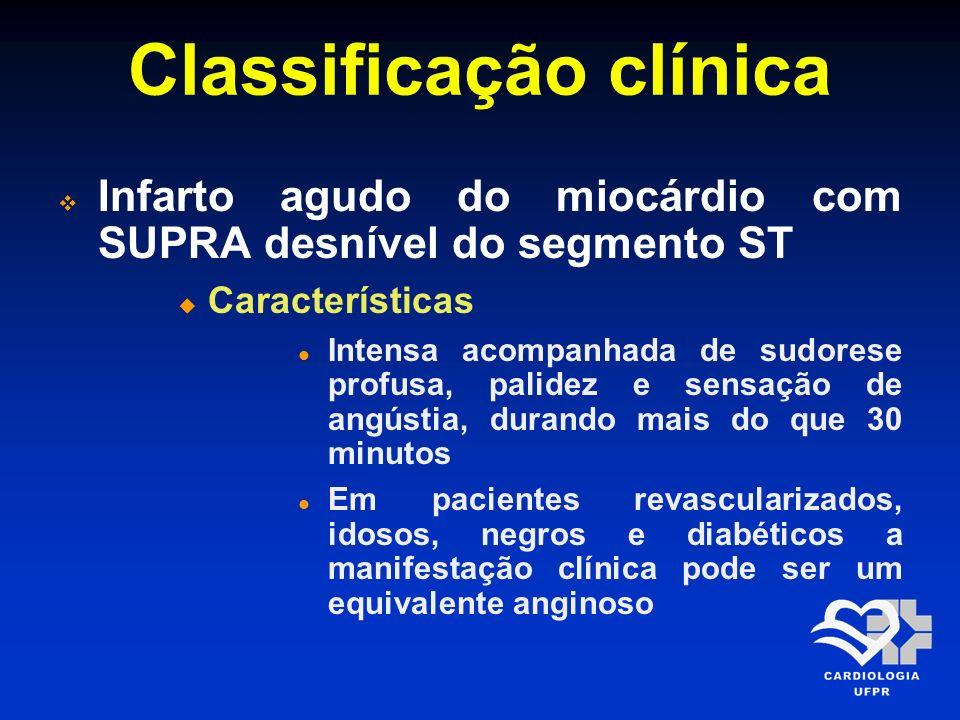 Classificação clínica Infarto agudo do miocárdio com SUPRA desnível do segmento ST Características Intensa acompanhada de sudorese profusa, palidez e