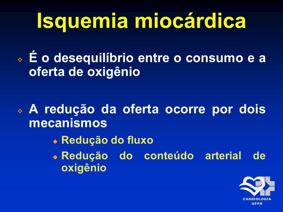 Isquemia miocárdica alterações Independente do mecanismo da isquemia se ocasionada por redução da oferta ou elevação da demanda, determina alterações metabólicas, elétricas e de contratilidade no miocárdico