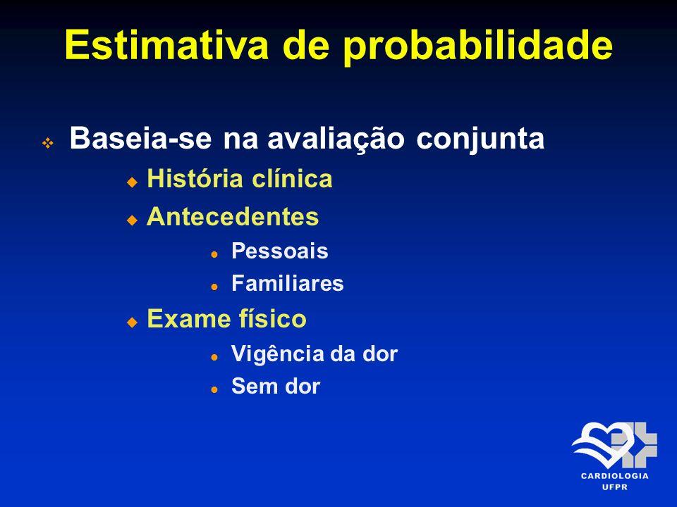 Estimativa de probabilidade Baseia-se na avaliação conjunta História clínica Antecedentes Pessoais Familiares Exame físico Vigência da dor Sem dor