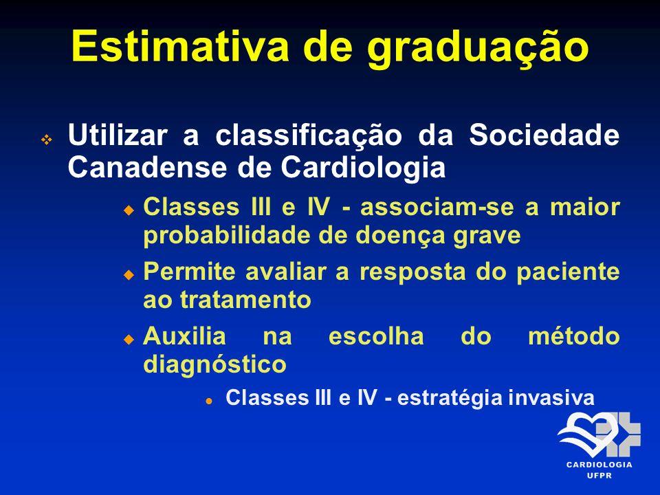 Estimativa de graduação Utilizar a classificação da Sociedade Canadense de Cardiologia Classes III e IV - associam-se a maior probabilidade de doença