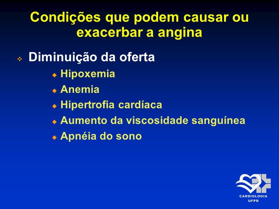 Condições que podem causar ou exacerbar a angina Diminuição da oferta Hipoxemia Anemia Hipertrofia cardíaca Aumento da viscosidade sanguínea Apnéia do