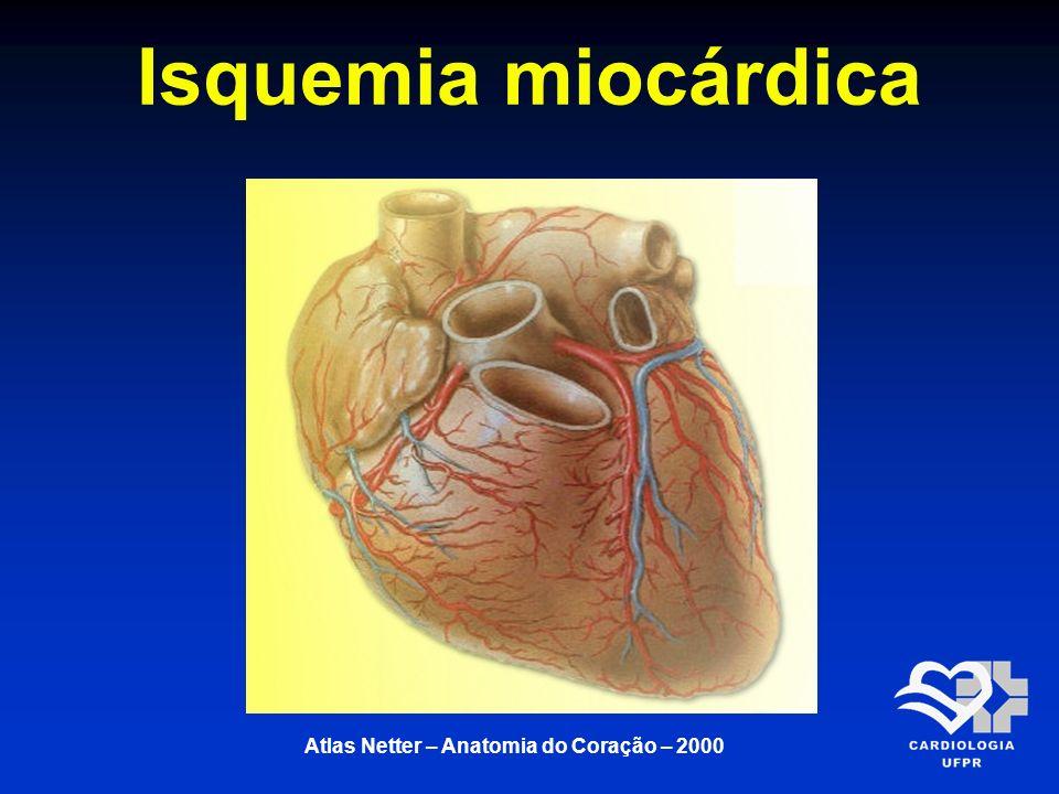 Isquemia miocárdica A isquemia (do grego ischo = deter e haima = sangue) decorre da deficiência de oxigênio do miócito Disfunção miocárdica sem sofrimento ou lesão permanente A duração da isquemia é um fator decisivo na magnitude dos efeitos anatomopatológicos no miocárdio