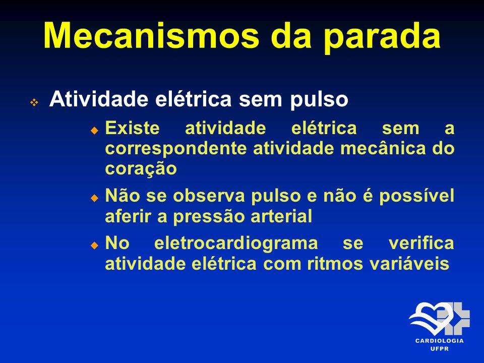 Mecanismos da parada Atividade elétrica sem pulso Existe atividade elétrica sem a correspondente atividade mecânica do coração Não se observa pulso e