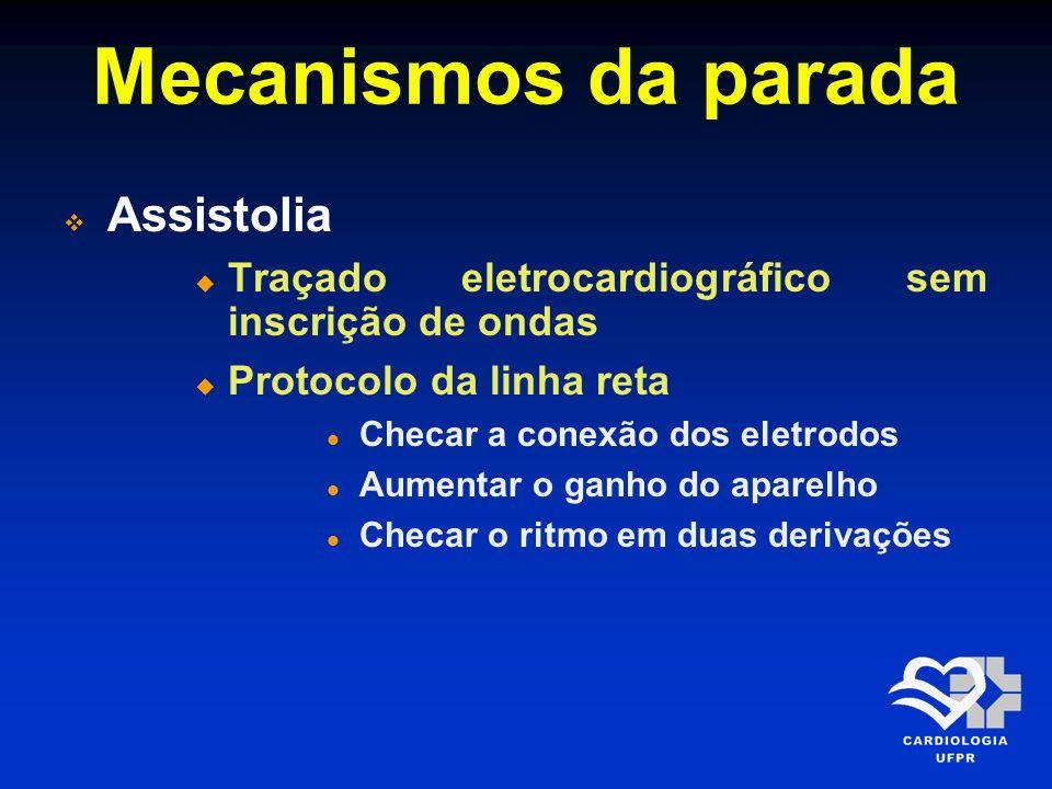 Mecanismos da parada Assistolia Traçado eletrocardiográfico sem inscrição de ondas Protocolo da linha reta Checar a conexão dos eletrodos Aumentar o g