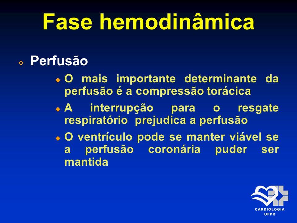 Fase hemodinâmica Perfusão O mais importante determinante da perfusão é a compressão torácica A interrupção para o resgate respiratório prejudica a pe