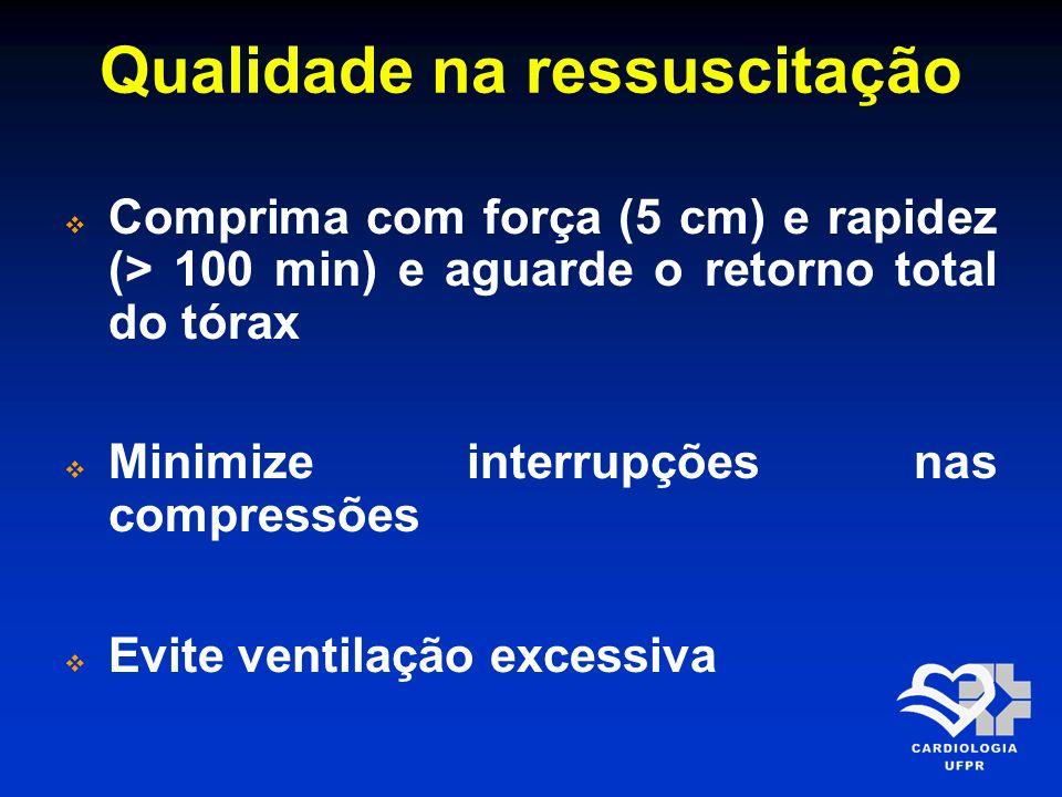 Qualidade na ressuscitação Comprima com força (5 cm) e rapidez (> 100 min) e aguarde o retorno total do tórax Minimize interrupções nas compressões Ev