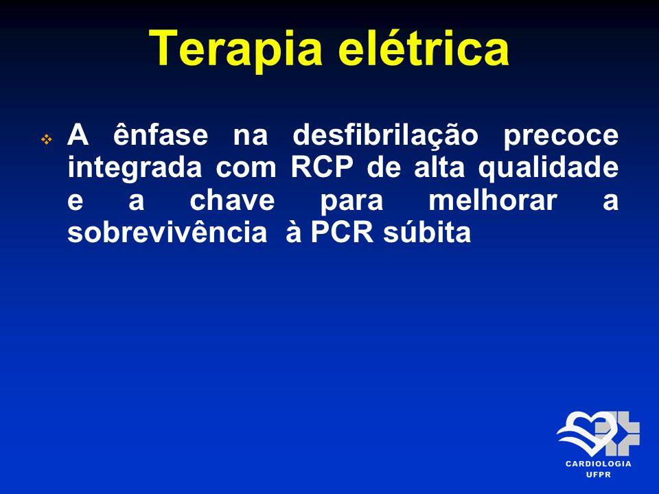 Terapia elétrica A ênfase na desfibrilação precoce integrada com RCP de alta qualidade e a chave para melhorar a sobrevivência à PCR súbita