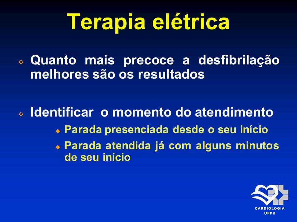Terapia elétrica Quanto mais precoce a desfibrilação melhores são os resultados Identificar o momento do atendimento Parada presenciada desde o seu in