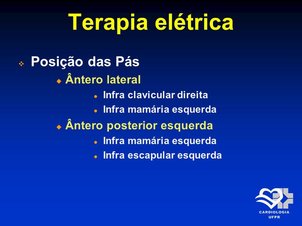 Terapia elétrica Posição das Pás Ântero lateral Infra clavicular direita Infra mamária esquerda Ântero posterior esquerda Infra mamária esquerda Infra