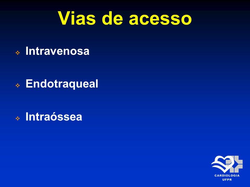 Vias de acesso Intravenosa Endotraqueal Intraóssea