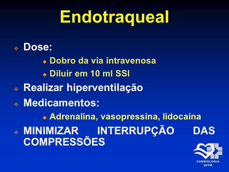 Endotraqueal Dose: Dobro da via intravenosa Diluir em 10 ml SSI Realizar hiperventilação Medicamentos: Adrenalina, vasopressina, lidocaína MINIMIZAR I