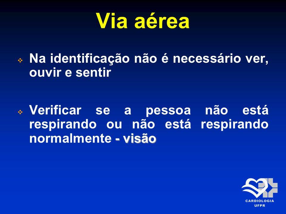Via aérea Na identificação não é necessário ver, ouvir e sentir - visão Verificar se a pessoa não está respirando ou não está respirando normalmente -
