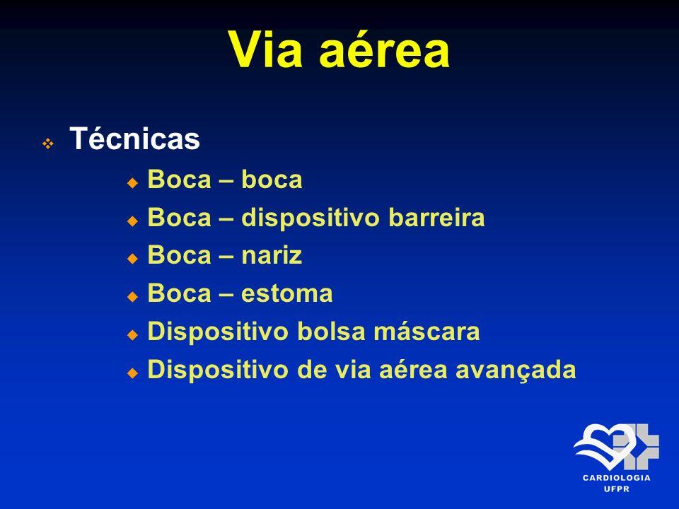 Via aérea Técnicas Boca – boca Boca – dispositivo barreira Boca – nariz Boca – estoma Dispositivo bolsa máscara Dispositivo de via aérea avançada