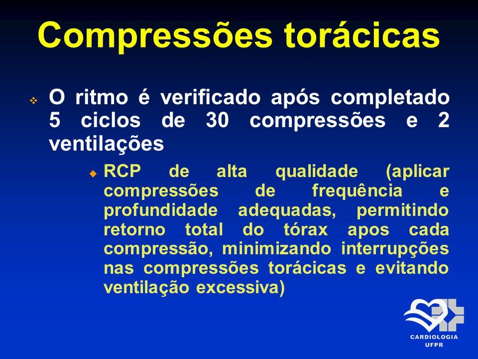 Compressões torácicas O ritmo é verificado após completado 5 ciclos de 30 compressões e 2 ventilações RCP de alta qualidade (aplicar compressões de fr