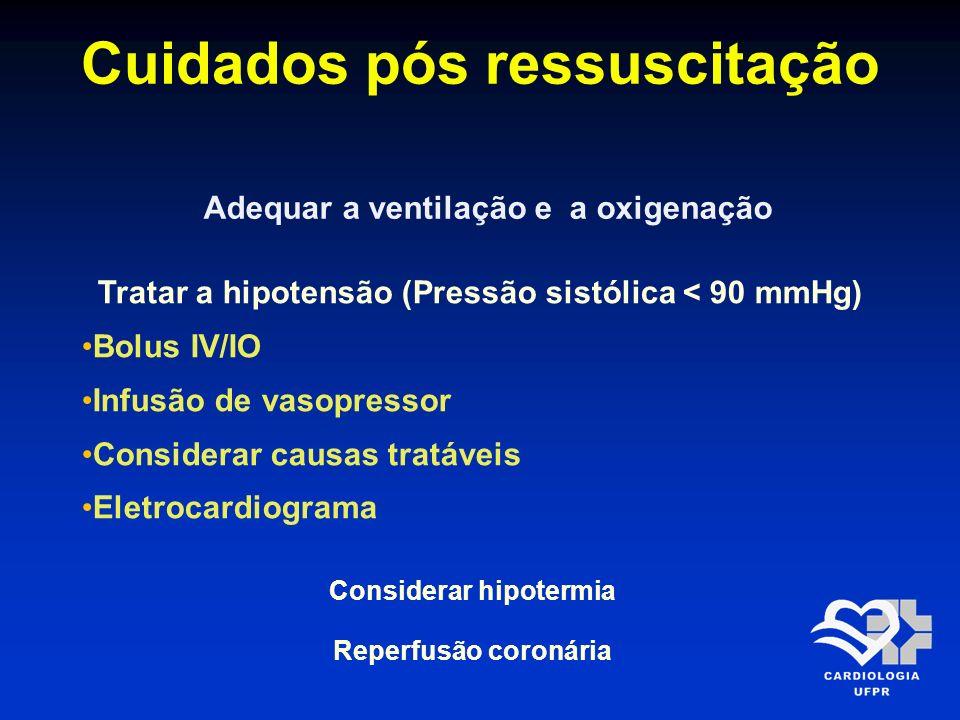 Cuidados pós ressuscitação Adequar a ventilação e a oxigenação Tratar a hipotensão (Pressão sistólica < 90 mmHg) Bolus IV/IO Infusão de vasopressor Co