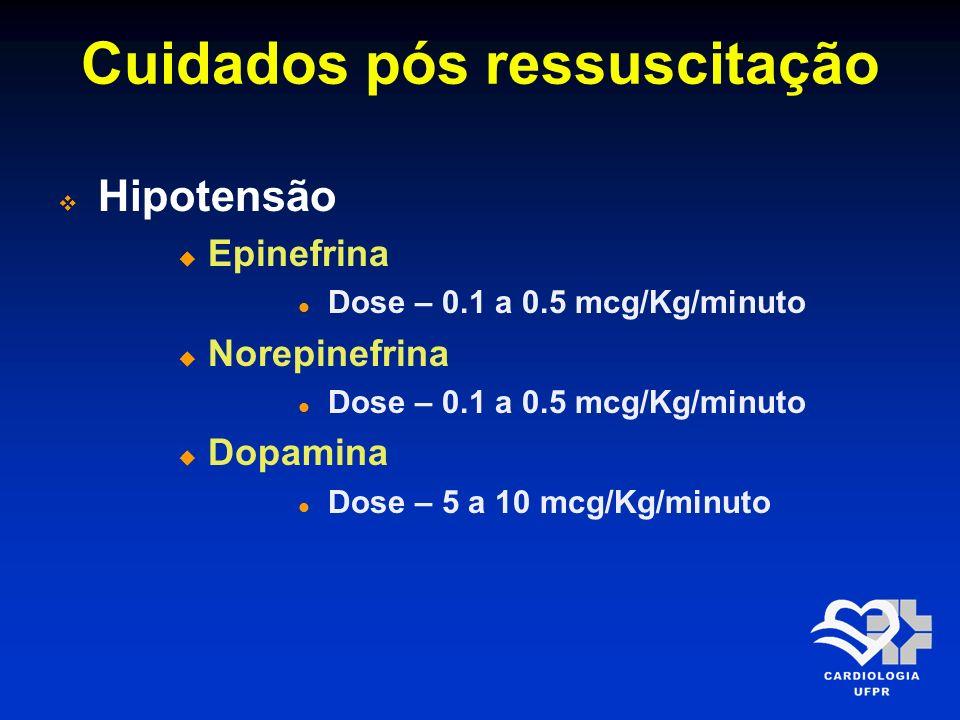 Cuidados pós ressuscitação Hipotensão Epinefrina Dose – 0.1 a 0.5 mcg/Kg/minuto Norepinefrina Dose – 0.1 a 0.5 mcg/Kg/minuto Dopamina Dose – 5 a 10 mc