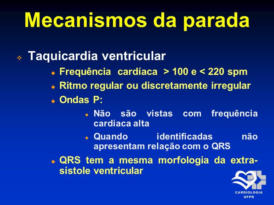 Mecanismos da parada Taquicardia ventricular Frequência cardíaca > 100 e < 220 spm Ritmo regular ou discretamente irregular Ondas P: Não são vistas co
