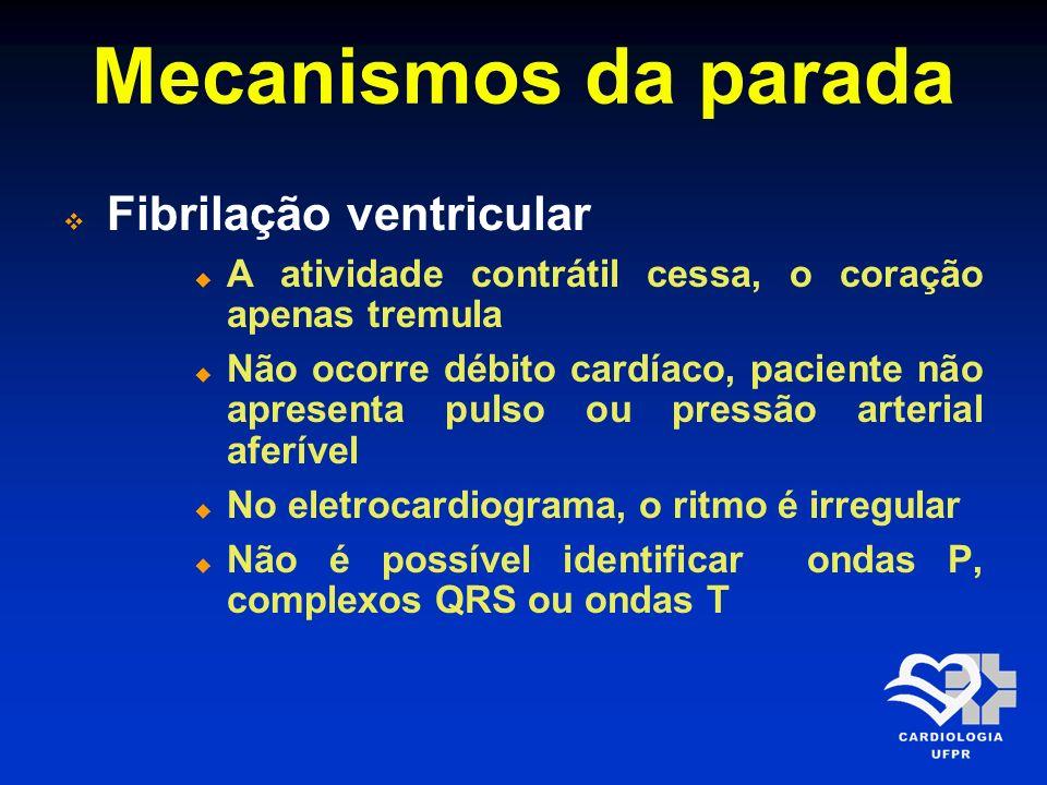 Mecanismos da parada Fibrilação ventricular A atividade contrátil cessa, o coração apenas tremula Não ocorre débito cardíaco, paciente não apresenta p