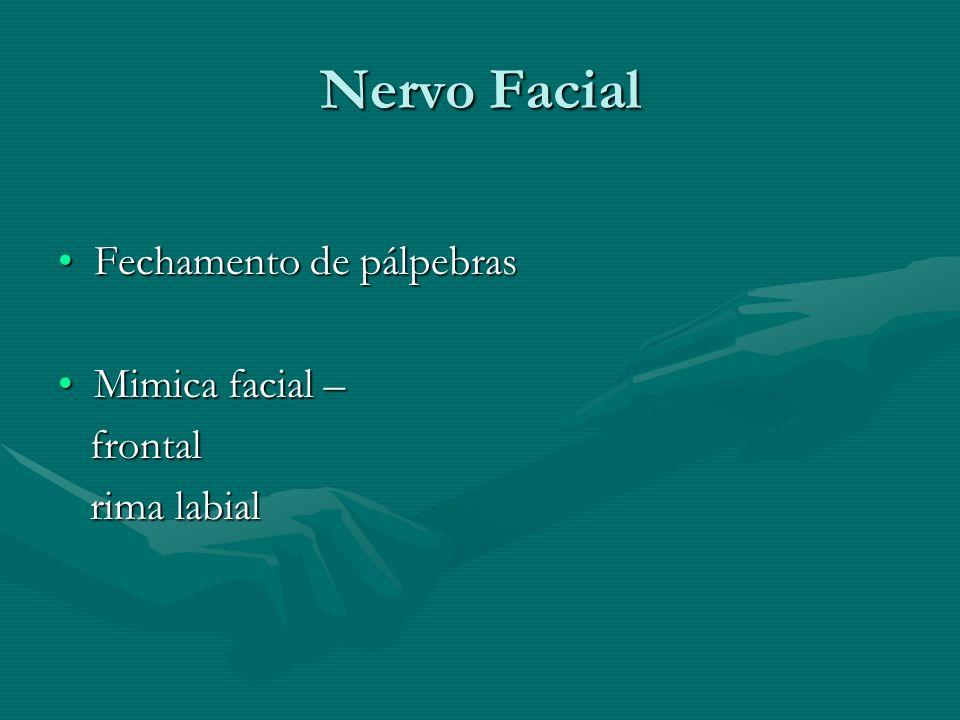 Nervo Facial Fechamento de pálpebrasFechamento de pálpebras Mimica facial –Mimica facial – frontal frontal rima labial rima labial