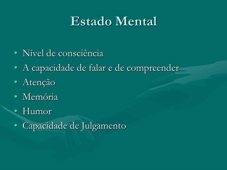 Estado Mental Nível de consciênciaNível de consciência A capacidade de falar e de compreenderA capacidade de falar e de compreender AtençãoAtenção Mem
