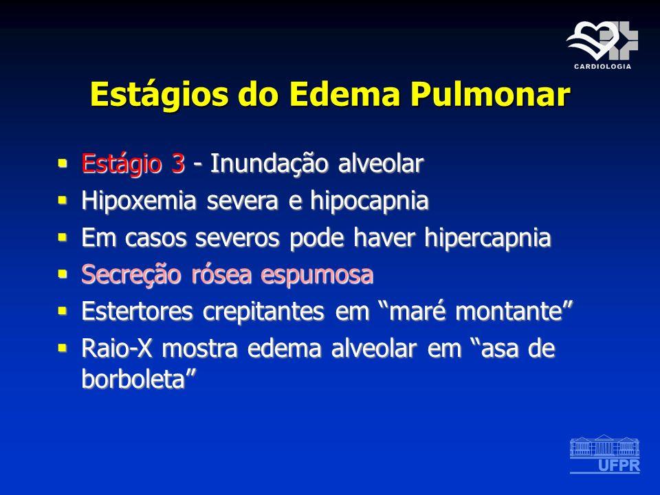 Estágios do Edema Pulmonar Estágio 3 - Inundação alveolar Estágio 3 - Inundação alveolar Hipoxemia severa e hipocapnia Hipoxemia severa e hipocapnia E