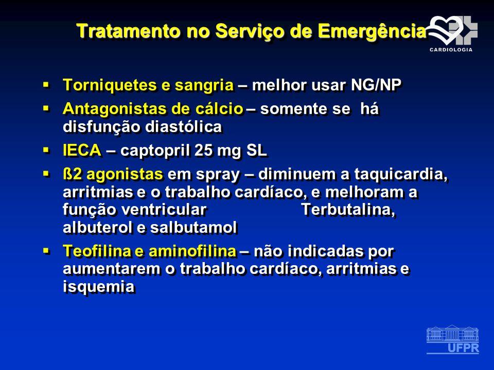 Tratamento no Serviço de Emergência Torniquetes e sangria – melhor usar NG/NP Antagonistas de cálcio – somente se há disfunção diastólica IECA – capto