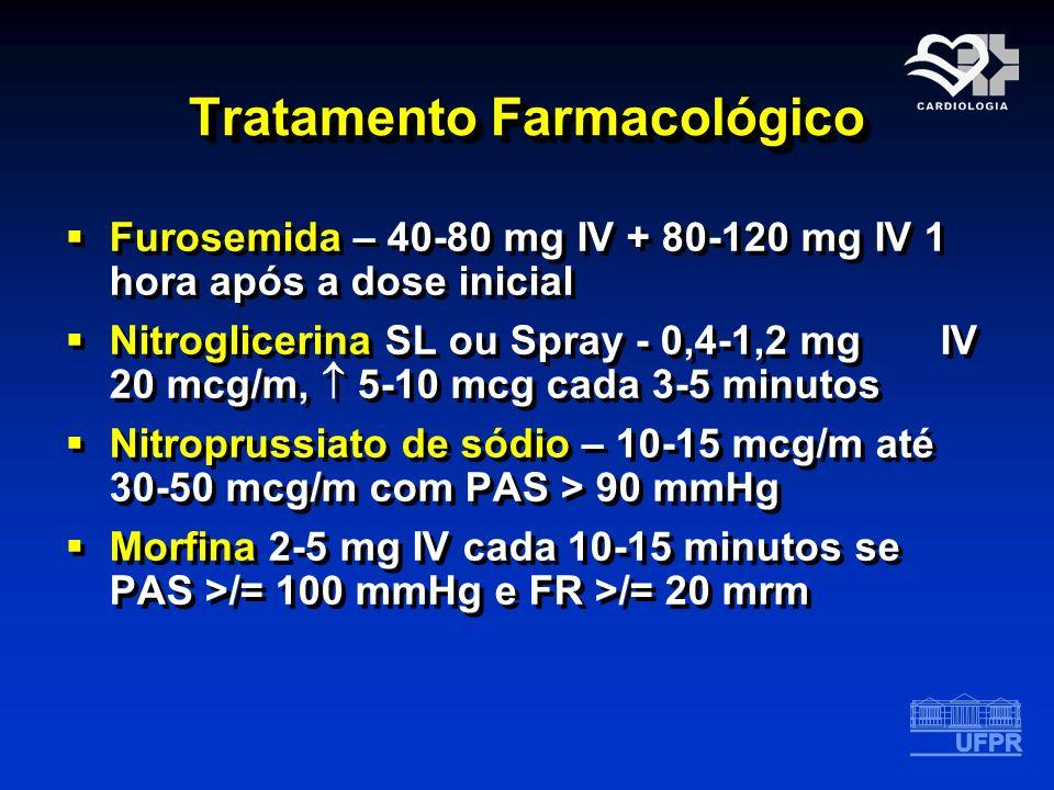 Tratamento Farmacológico Furosemida – 40-80 mg IV + 80-120 mg IV 1 hora após a dose inicial Nitroglicerina SL ou Spray - 0,4-1,2 mg IV 20 mcg/m, 5-10