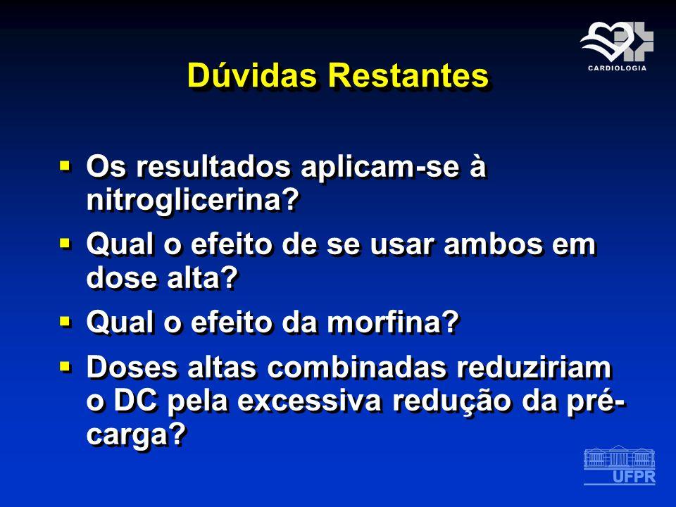 Dúvidas Restantes Os resultados aplicam-se à nitroglicerina? Qual o efeito de se usar ambos em dose alta? Qual o efeito da morfina? Doses altas combin