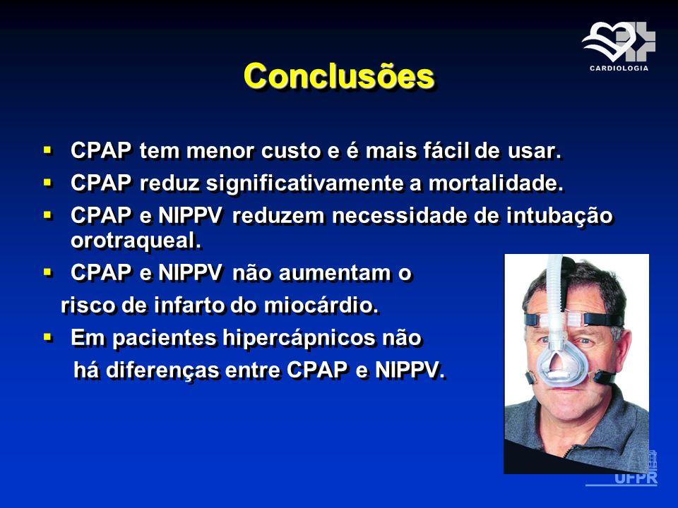 ConclusõesConclusões CPAP tem menor custo e é mais fácil de usar. CPAP reduz significativamente a mortalidade. CPAP e NIPPV reduzem necessidade de int