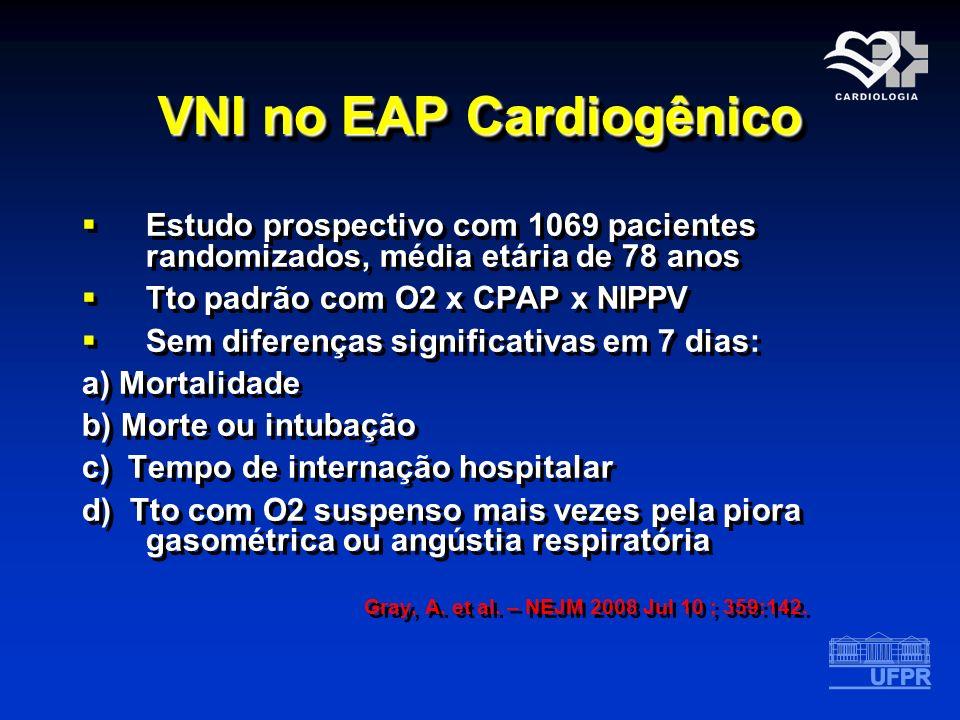 VNI no EAP Cardiogênico Estudo prospectivo com 1069 pacientes randomizados, média etária de 78 anos Tto padrão com O2 x CPAP x NIPPV Sem diferenças si