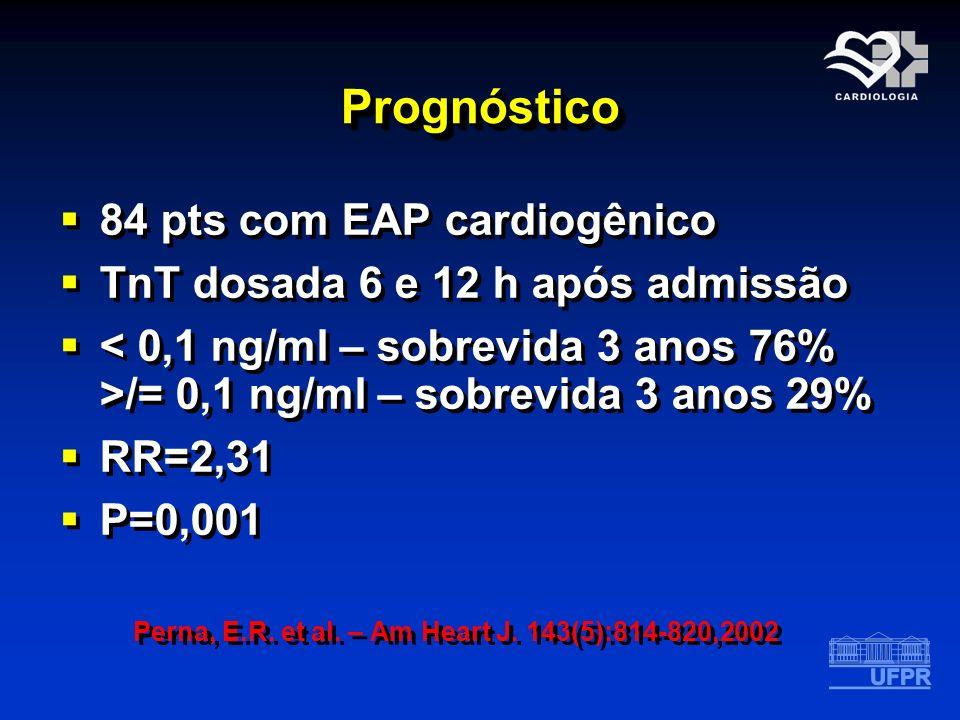 PrognósticoPrognóstico 84 pts com EAP cardiogênico TnT dosada 6 e 12 h após admissão /= 0,1 ng/ml – sobrevida 3 anos 29% RR=2,31 P=0,001 Perna, E.R. e