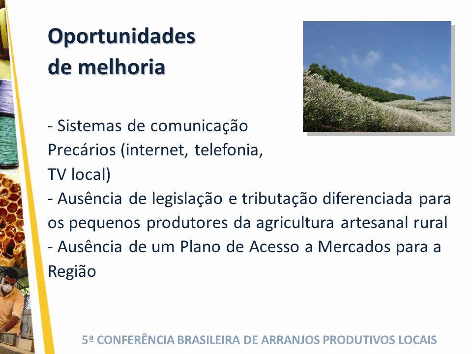 5ª CONFERÊNCIA BRASILEIRA DE ARRANJOS PRODUTIVOS LOCAIS Oportunidades de melhoria - Sistemas de comunicação Precários (internet, telefonia, TV local) - Ausência de legislação e tributação diferenciada para os pequenos produtores da agricultura artesanal rural - Ausência de um Plano de Acesso a Mercados para a Região