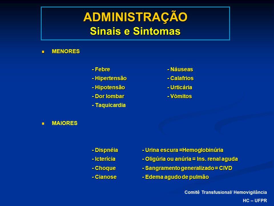 ADMINISTRAÇÃO Sinais e Sintomas MENORES MENORES - Febre- Náuseas - Hipertensão- Calafrios - Hipotensão - Urticária - Dor lombar- Vômitos - Taquicardia