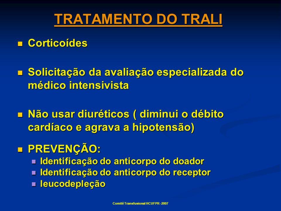 Comitê Transfusional HCUFPR -2007 TRATAMENTO DO TRALI Corticoídes Corticoídes Solicitação da avaliação especializada do médico intensivista Solicitaçã