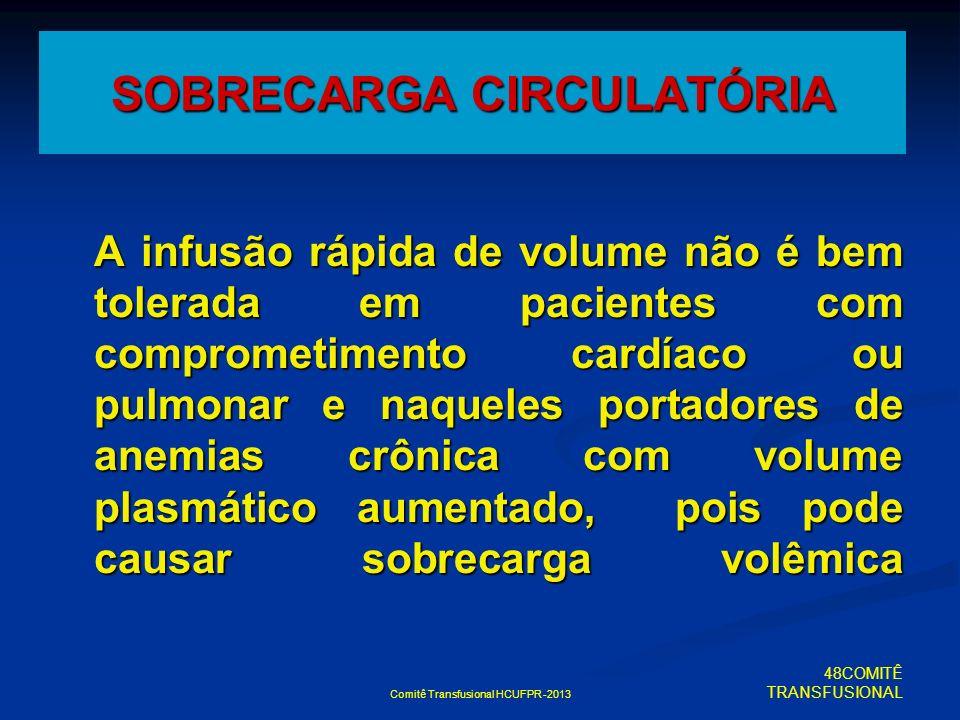 Comitê Transfusional HCUFPR -2013 SOBRECARGA CIRCULATÓRIA A infusão rápida de volume não é bem tolerada em pacientes com comprometimento cardíaco ou p
