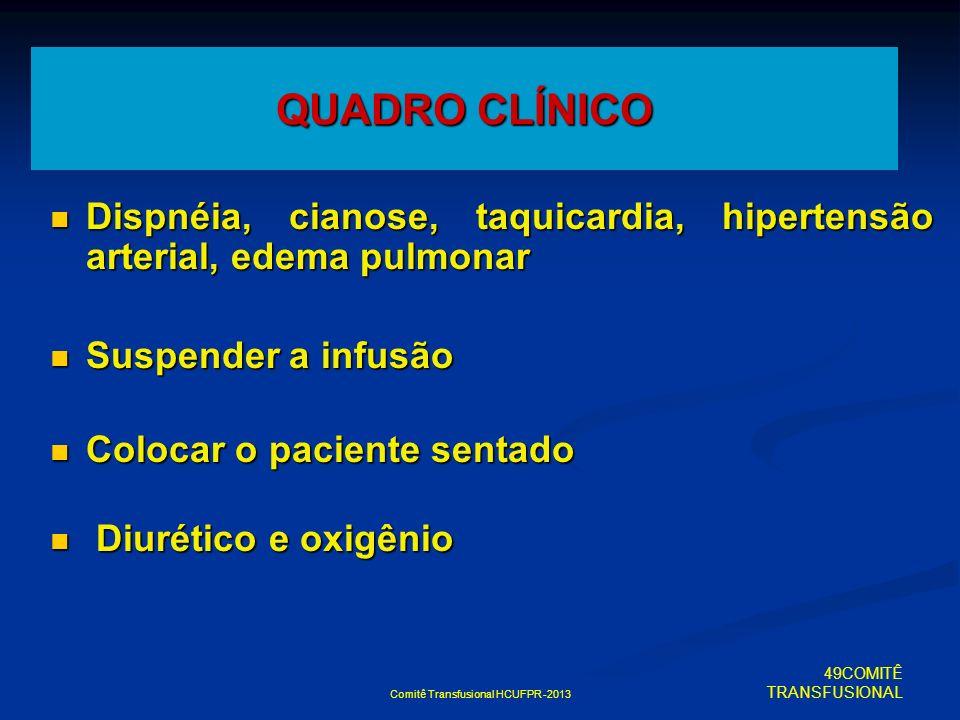 Comitê Transfusional HCUFPR -2013 QUADRO CLÍNICO Dispnéia, cianose, taquicardia, hipertensão arterial, edema pulmonar Dispnéia, cianose, taquicardia,