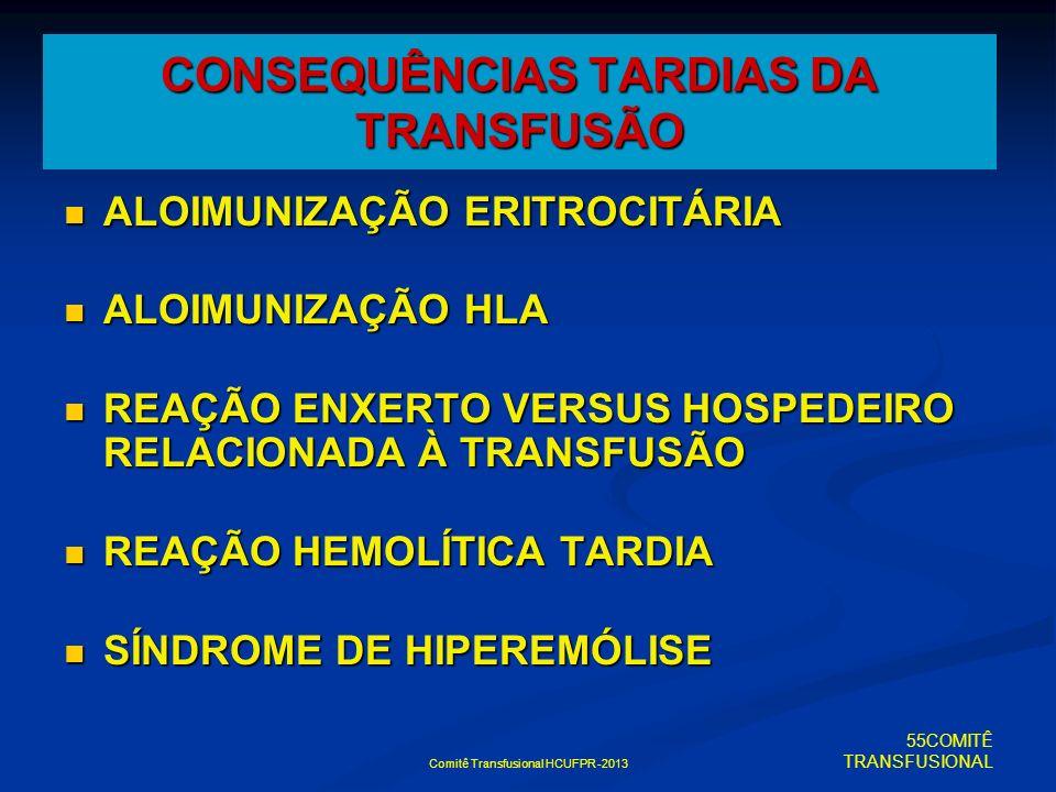 Comitê Transfusional HCUFPR -2013 CONSEQUÊNCIAS TARDIAS DA TRANSFUSÃO ALOIMUNIZAÇÃO ERITROCITÁRIA ALOIMUNIZAÇÃO ERITROCITÁRIA ALOIMUNIZAÇÃO HLA ALOIMU