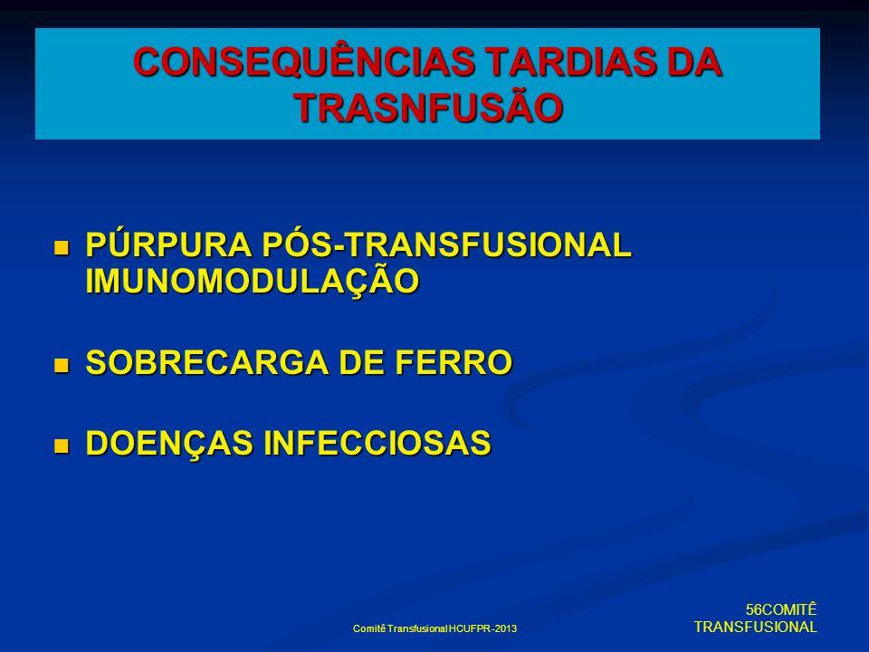 Comitê Transfusional HCUFPR -2013 CONSEQUÊNCIAS TARDIAS DA TRASNFUSÃO PÚRPURA PÓS-TRANSFUSIONAL IMUNOMODULAÇÃO PÚRPURA PÓS-TRANSFUSIONAL IMUNOMODULAÇÃ