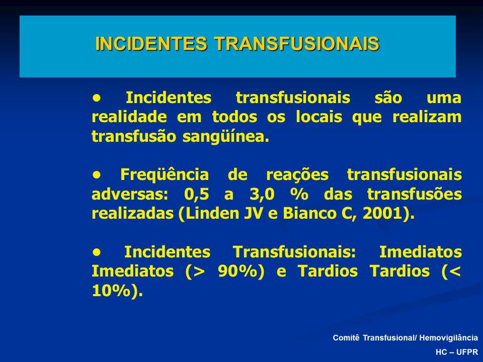 INCIDENTES TRANSFUSIONAIS Incidentes transfusionais são uma realidade em todos os locais que realizam transfusão sangüínea. Freqüência de reações tran