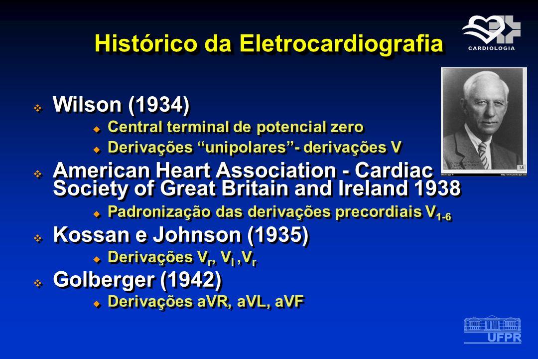 Histórico da Eletrocardiografia Wilson (1934) Central terminal de potencial zero Derivações unipolares- derivações V American Heart Association - Card