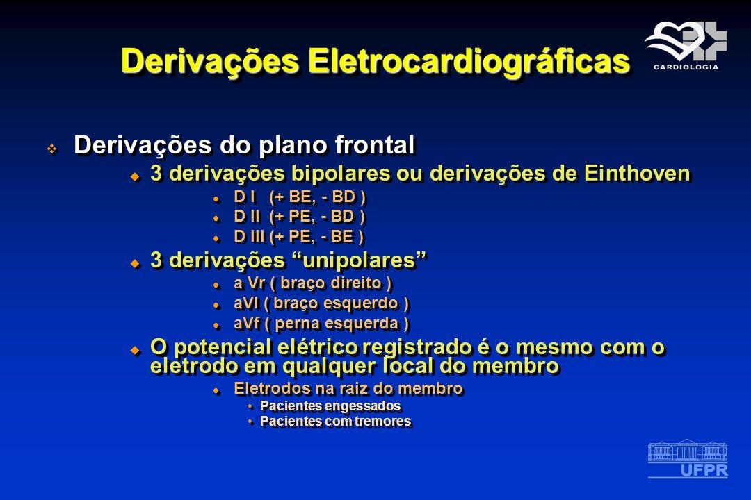 Derivações Eletrocardiográficas Derivações do plano frontal 3 derivações bipolares ou derivações de Einthoven D I (+ BE, - BD ) D II (+ PE, - BD ) D I